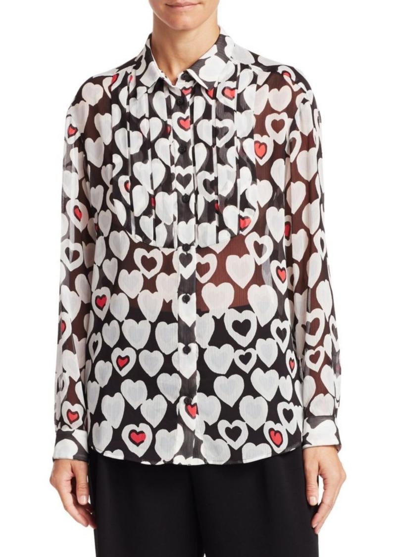 Armani Long Sleeve Heart Print Blouse