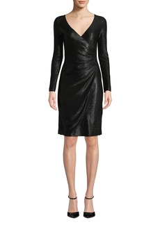 Armani Long-Sleeve Metallic Mesh Wrap Dress