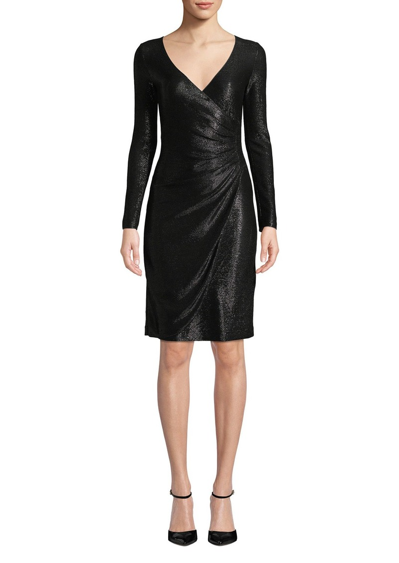 Armani Long-Sleeve Metallic Mesh Wrap Dress