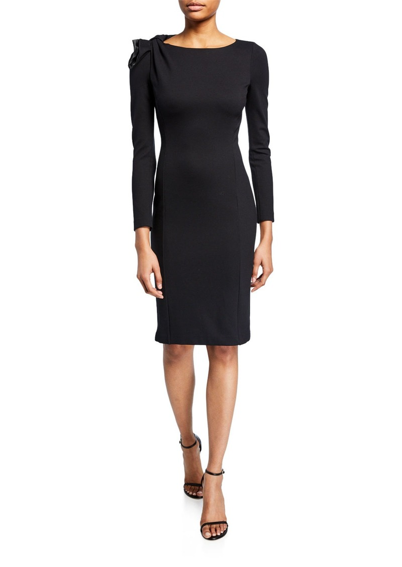 Armani Long-Sleeve Milano Jersey Dress with Bow