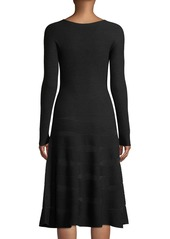 Armani Long-Sleeve Ottoman-Jacquard Wool A-Line Midi Dress