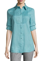Armani Long-Sleeve Pleated-Bib Tunic  Nile Green