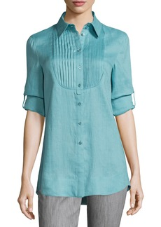 Armani Long-Sleeve Pleated-Bib Tunic  Nile Green