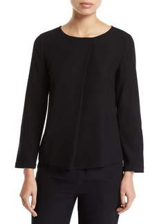 Armani Long-Sleeve Pleated-Front Tech Cady Blouse