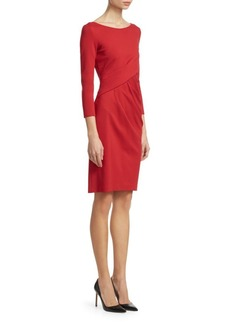 Armani Long Sleeve Ruched Sheath Dress