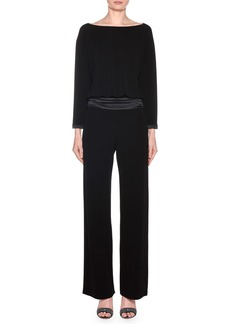 Armani Long-Sleeve Satin-Waist Straight Leg Jumpsuit