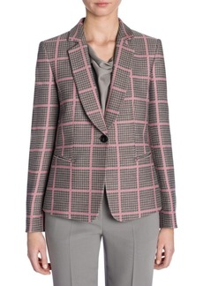 Armani Long-Sleeve Shawl Collar Houndstooth Check Jacket