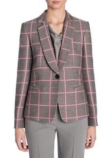 Armani Long-Sleeve Shawl Collar Houndstooth Check Jacket