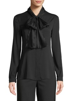 Armani Long-Sleeve Silk Georgette Blouse w/ Tie Collar