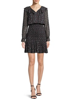 Armani Long-Sleeve Smocked Stargazer-Print Georgette Dress