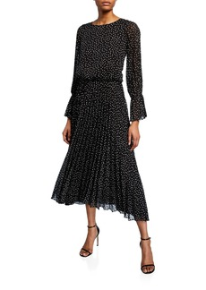 Armani Long-Sleeve Swiss-Dot  Dress