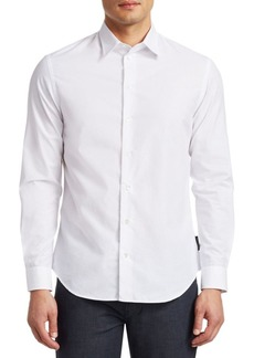 Armani Long-Sleeve Tonal Jacqaurd Button-Down Shirt