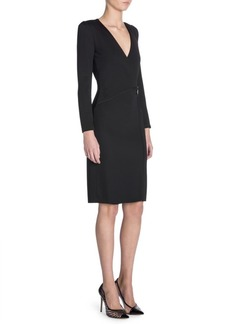 Armani Long-Sleeve V-Neck Drape Dress