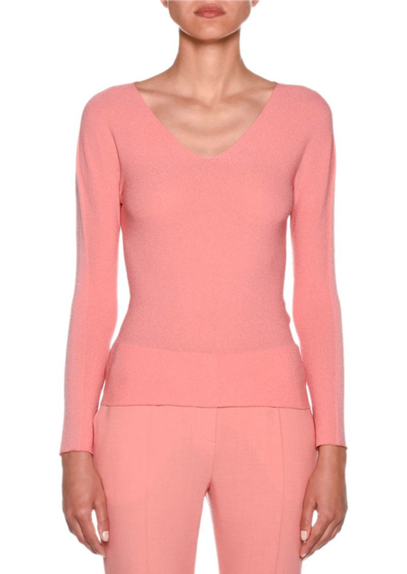 Armani Long-Sleeve V-Neck Mesh Top