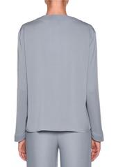 Armani Long-Sleeve V-Neck Silk Blouse
