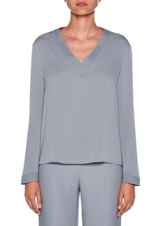 Armani Long-Sleeve V-Neck Silk Blouse