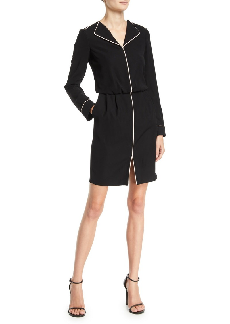Armani Long-Sleeve Woven Dress w/ Contrast Piping