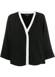 Armani loose-fit contrast trim blouse