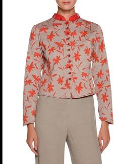 Armani Mandarin-Collar Floral-Print Short Jacket