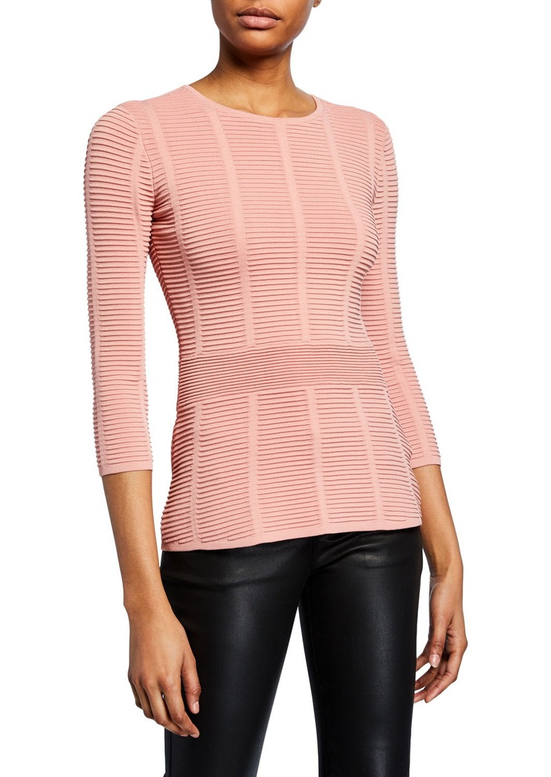 Armani Mayfair 3/4-Sleeve Ottoman Ribbed Sweater