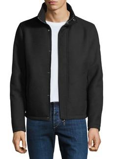 Armani Men's Broadcloth Blouson Coat with Faux-Fur Lining