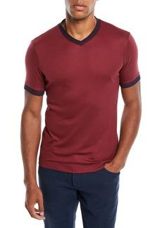 Armani Men's Contrast-Trim V-Neck T-Shirt  Burgundy