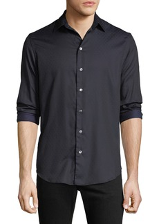 Armani Men's Cotton Poplin Pin-Dot Sport Shirt