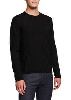 Armani Men's Crewneck Tonal-Pattern Sweater
