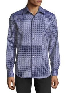 Armani Men's Diamond-Pattern Flocked Long-Sleeve Woven Shirt