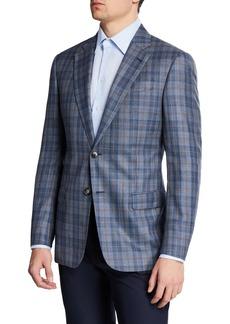 Armani Men's Earth-Tone Plaid Sport Coat
