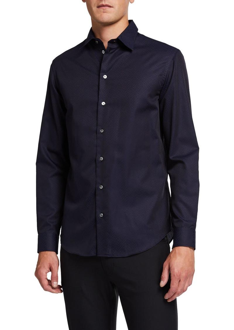 Armani Men's Fancy Chevron Pattern Sport Shirt