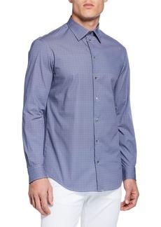 Armani Men's Geo Pinwheel Pattern Sport Shirt  Blue
