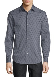 Armani Men's Geometric-Flocked Button-Front Long-Sleeve Cotton Woven Shirt