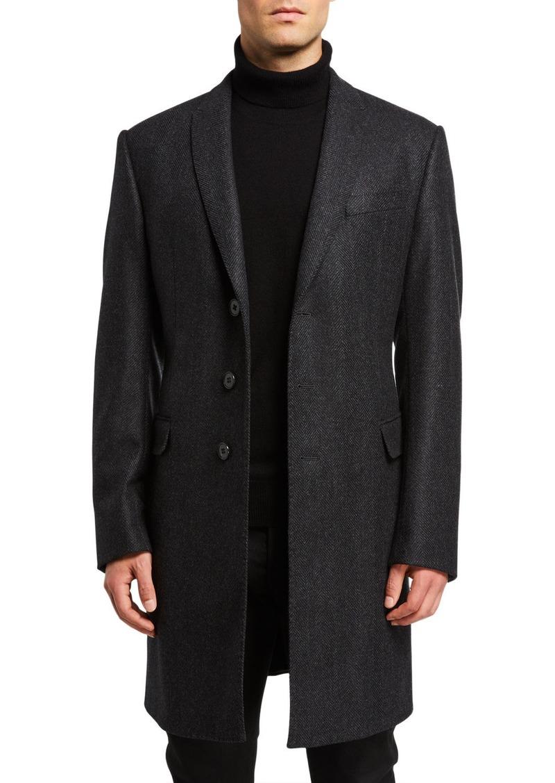 Armani Men's Herringbone Wool-Cashmere Topcoat