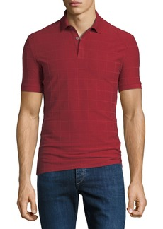 Armani Men's Jacquard Check Polo Shirt
