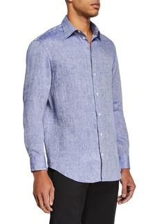 Armani Men's Linen Sport Shirt  Medium Blue