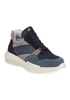 Armani Men's Logo-Embossed Suede-Trim Trainer Sneakers