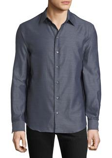 Armani Men's Long-Sleeve Button-Front Melange Twill Woven Shirt
