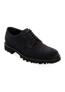 Armani Men's Lugged-Sole Suede Derby Shoe