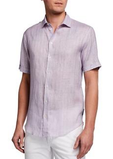 Armani Men's Micro-Box Linen Short-Sleeve Sport Shirt