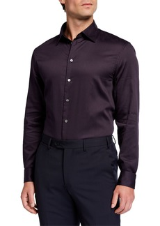 Armani Men's Micro-Dot Pattern Cotton Sport Shirt