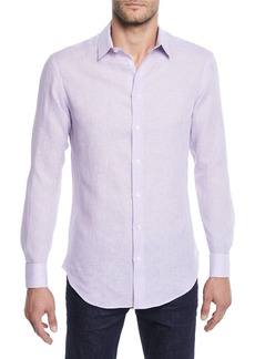 Armani Men's Micro-Houndstooth Linen Sport Shirt  Light Purple