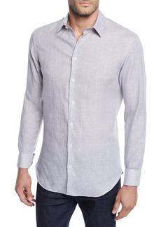 Armani Men's Micro-Houndstooth Linen Sport Shirt  Light Gray