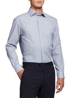 Armani Men's Micro-Pattern Cotton Dress Shirt