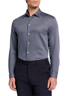 Armani Men's Micro-Pattern Jacquard Sport Shirt