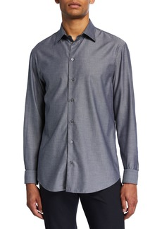 Armani Men's Micro-Pattern Sport Shirt
