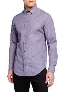 Armani Men's Micro Stripe Seersucker Sport Shirt