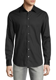 Armani Men's Micro-Woven Casual Button-Down Shirt