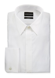 Armani Men's Modern Fit Basic Tuxedo Shirt with Point Collar & French Cuffs