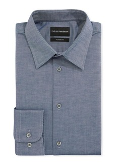 Armani Men's Modern-Fit Stretch Chambray Dress Shirt